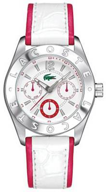 LACOSTE Advantage White and Pink Leather Strap Ladies 2000530