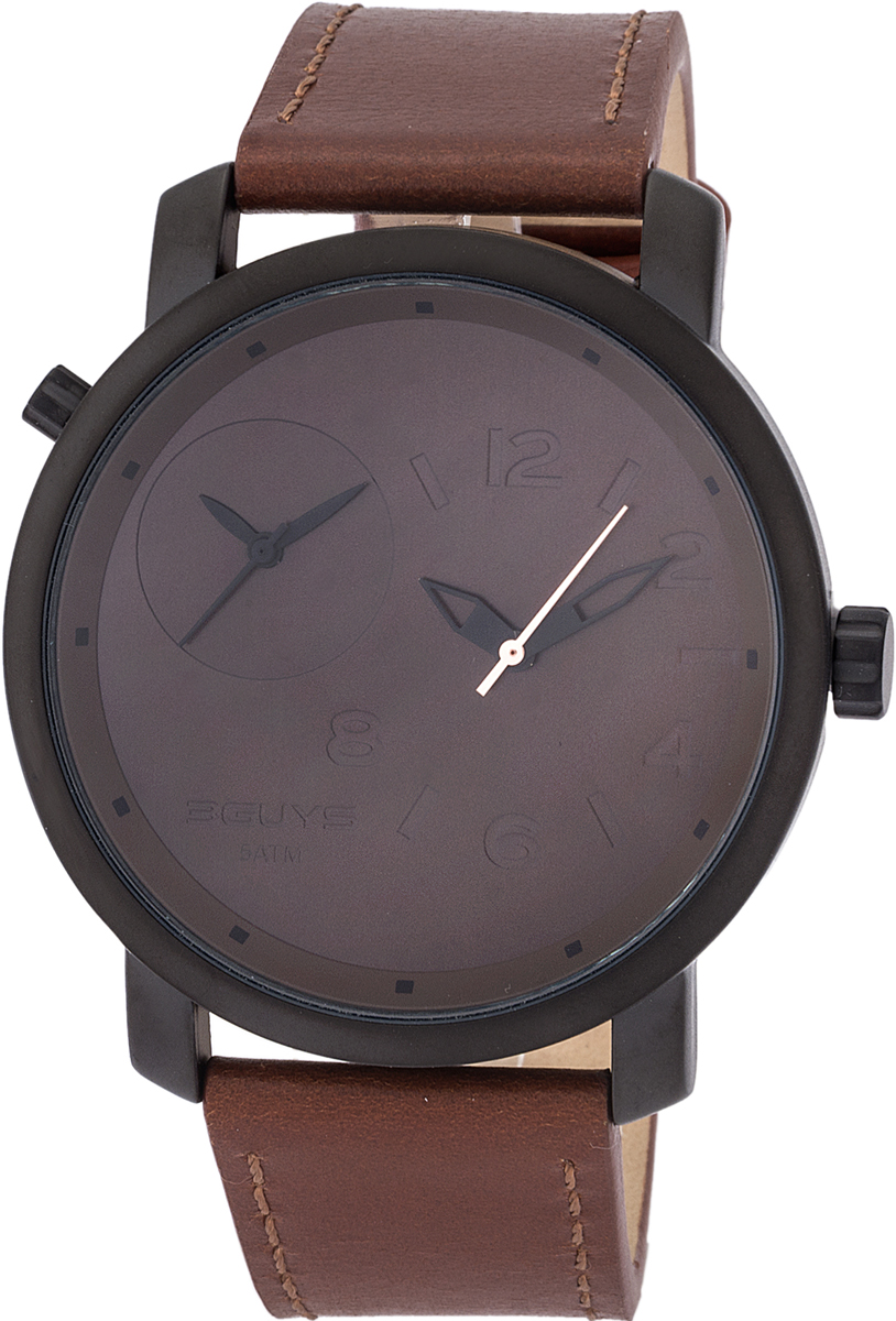 3Guys Dual Time Brown Leather Strap 3G18510
