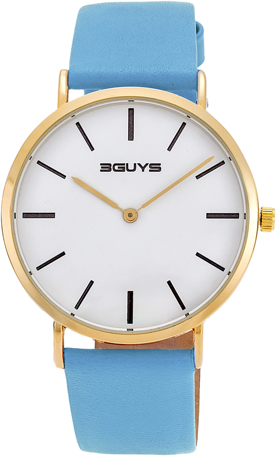 3Guys Time Light Blue Leather Strap 3G73024