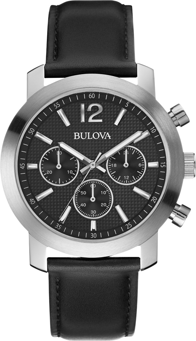 BULOVA Dress Black Leather Chronograph 96A159