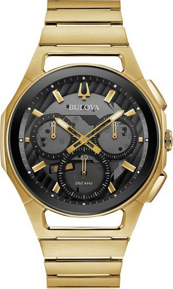 BULOVA Curv Gold Stainless Steel Chronograph 97A144