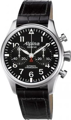 Alpina Aviation Startimer Pilot Automatic Chonograph Limited Edition Black Leather Strap AL860B4S6