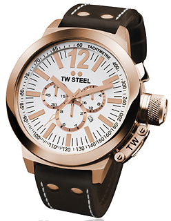 TW STEEL Ceo Collection Chronograph Brown Leather Strap XL CE1020