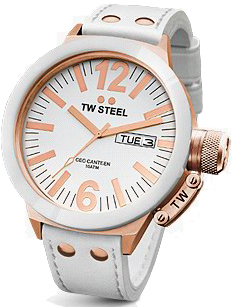 TW STEEL Ceo Collection White Leather Strap CE1035