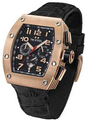 TW STEEL CEO Tonneau Rose Gold Black Leather CE2004