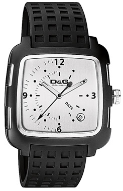 D&G Square Black Rubber Strap DW0361