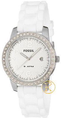 FOSSIL Crystal Ladies White Rubber Strap ES2692