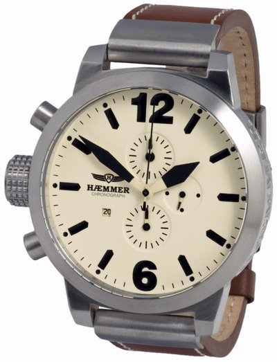 HAEMMER Falcon XXL Chronograph Brown Leather Strap HC01