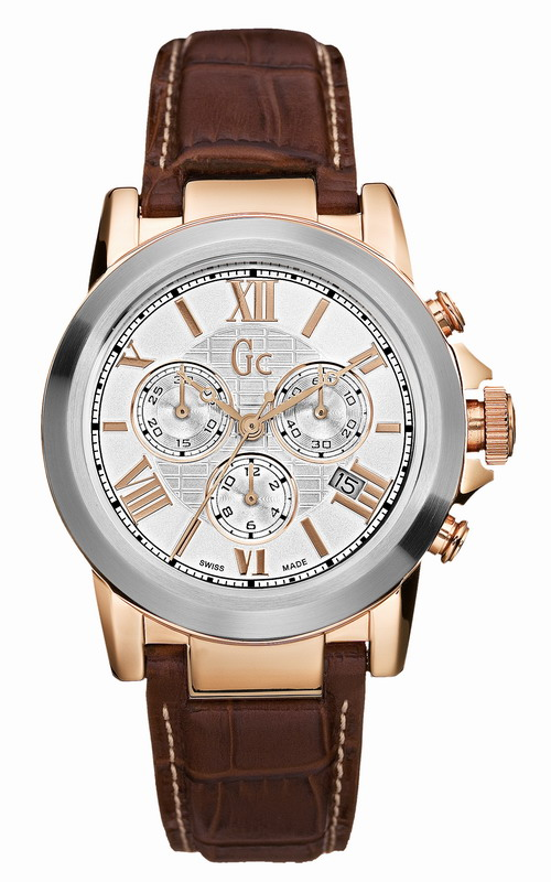 GUESS Collection Gents Brown Leather Strap Chronograph  41501G1