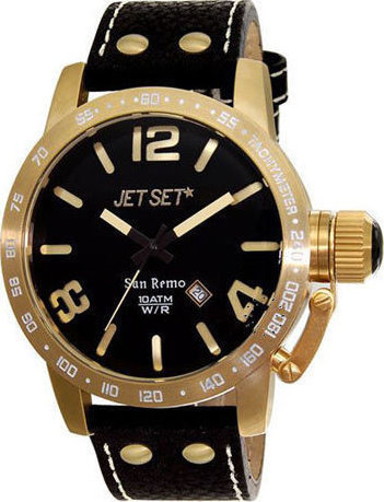 Jet Set San Remo Gold Black Leather Strap J84587-237
