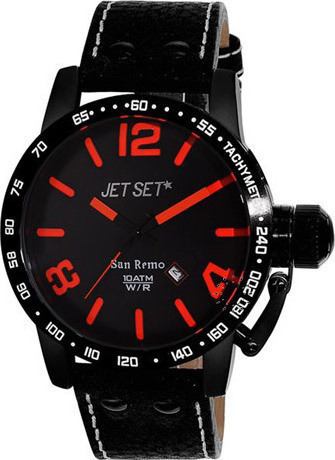 Jet Set San Remo Black Leather Strap J8458B-537