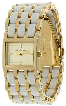 MICHAEL KORS Gold Stainless Steel White Acrylic Ladies MK4196
