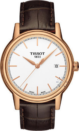 Tissot T-classic Carson Rose Gold Brown Leather Strap T085.410.36.011.00