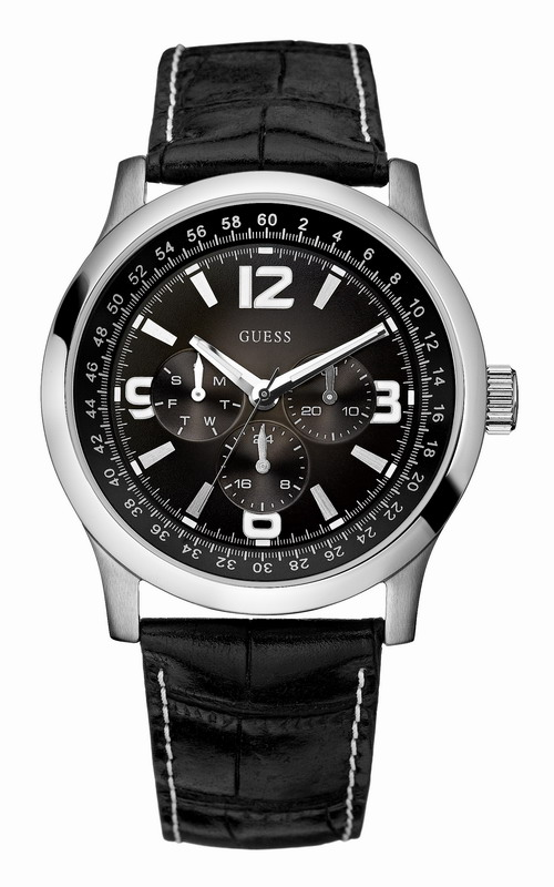GUESS Black Leather DualTime Calendar W95063G1