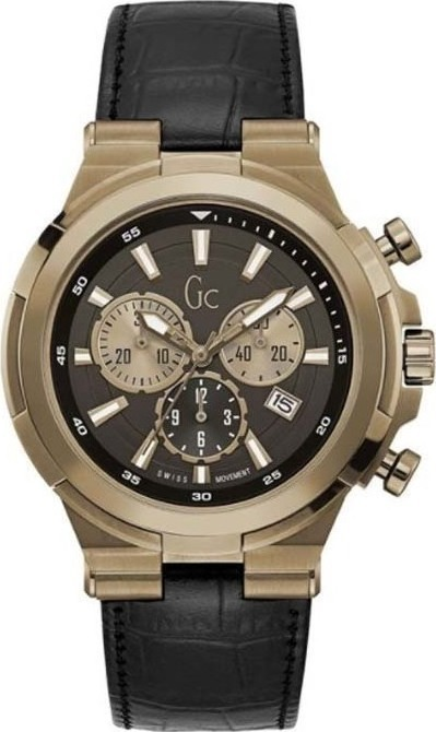GUESS Collection Gold Black Leather Chronograph Y23012G2