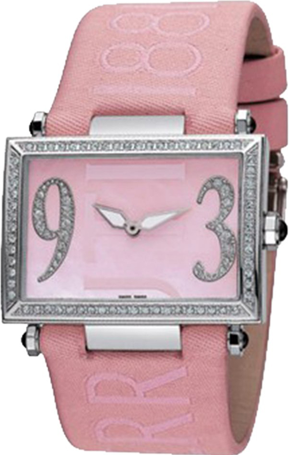 Cerruti Square Lady Crystal Pink Dial and Leather Strap CT100202X03