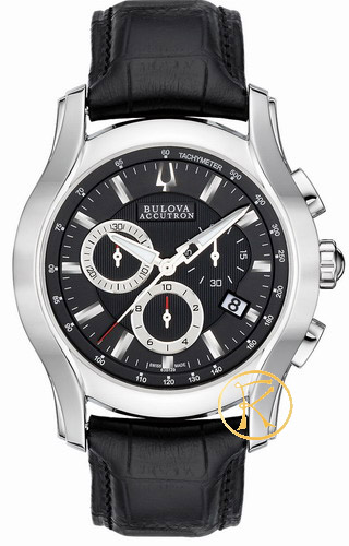 BULOVA ACCUTRON Stratford Black Leather Strap  63B139