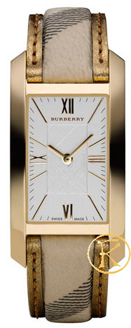 BURBERRY Rectangle Brown Leather Strap BU1075