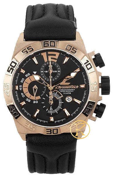 CHRONOTECH Active Chronograph Black Leather Strap CT7993M05