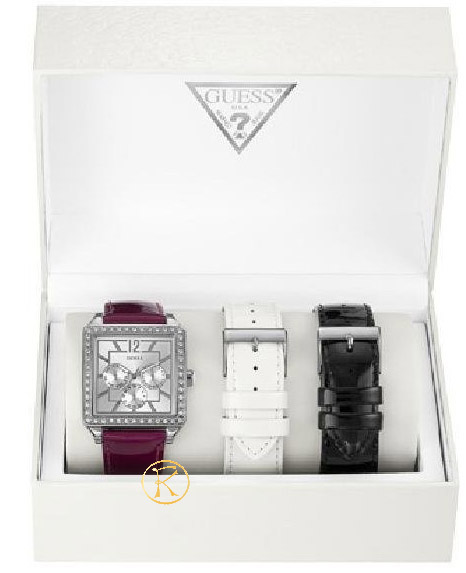 GUESS Callendar Purple Leather Strap Box Set  W14046L1