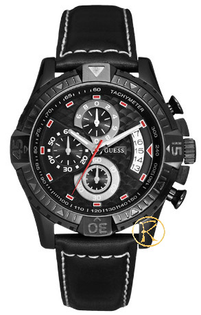 GUESS Chronograph Black Leather Strap  W18547G1