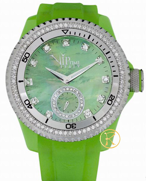 VIP TIME Magnum Collection Green Rubber Strap Crystal Ladies VP8021GR