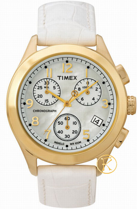 Timex Chrono Lady Mothern of Pearls White Dial T2M713