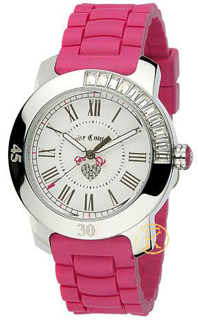 Juicy COUTURE Hot Pink Rubber Strap Crystal Ladies 1900545