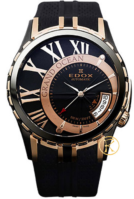 EDOX Grand Ocean Automatic Black Rubber Strap 82007357RNNIR
