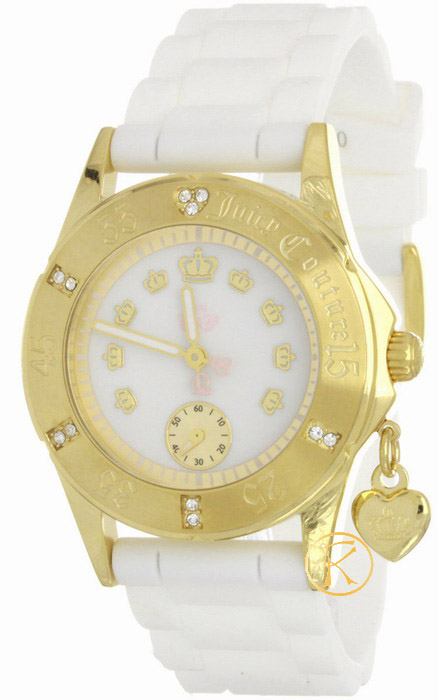 Juicy Couture Women's  Rich Girl Gold-Plated and White Jelly Strap Watch 1900501