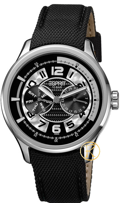 ESPRIT White Pulse Black Leather Strap ES102851005