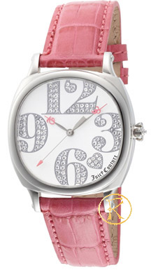 Juicy Couture Women's Prep Pink Leather Strap Watch 1900692