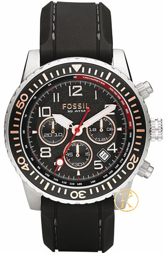 Fossil Chrono Black Leather Strap CH2626