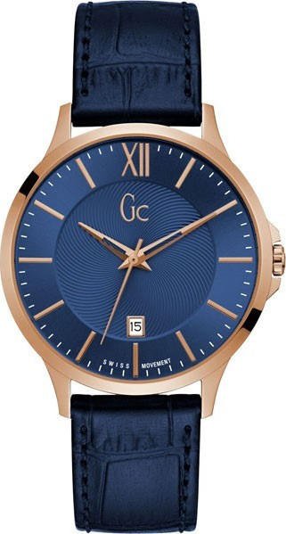 GUESS Collection Rose Gold Blue Leather Strap Y38002G7
