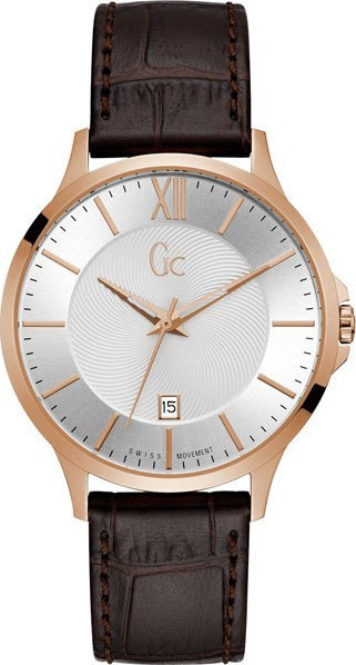 GUESS Collection Rose Gold Brown Leather Strap Y38003G1