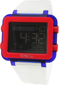 TECNOChic Digital Chronograph White Transparent Rubber Strap 1249ME-01