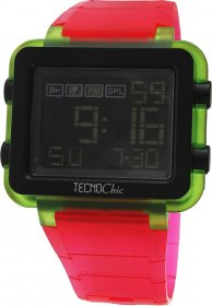 Tecnochic Digital Red Rubber Strap 1249ME02