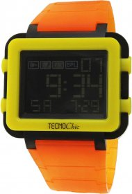 Tecnochic Digital Orange Rubber Strap 1249ME05