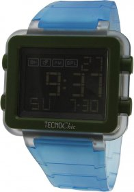 Tecnochic Digital Light Blue Rubber Strap 1249ME08
