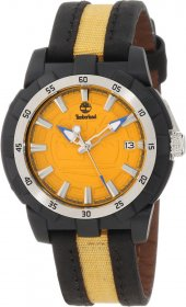 Timberland Men's Whiteledge Two-Tone Leather Quartz Watch with Yellow Dial 13323MPBS/17