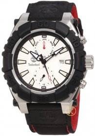 Timberland HookSet White Dial Black Leather Strap 13331JSTB-04