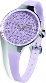 Hoops Cherie Ladies Diamond Purple Rubber Strap 2483LD10
