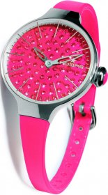 Hoops Cherie Ladies Diamond Red Rubber Strap 2483LD12