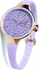 Hoops Cherie Diamond Rose Gold Case Purple Rubber strap 2483LGD10
