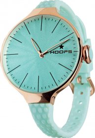 HOOPS Cherie L Rose Gold Turquoise Rubber Strap 2502LG11
