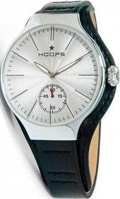 Hoops Dandy Silver Black Leather Strap 2508MC01