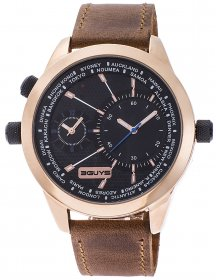 3GUYS Dual Time Brown Leather Strap 3G14589