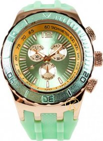 FREELINE Fashion Rose Gold Light Green Rubber Strap 6944G