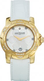 SAINT HONORE Diamonds Gold White Leather Strap 7520213ABYD