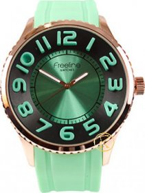 FREELINE Fashion Rose Gold Light Green Rubber Strap 8291-2